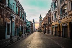 The sun rising over Puebla, Mexico