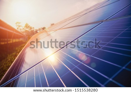 The sun's rays reflect from the solar panel, Solar panel, alternative electricity source, photovoltaic - concept of sustainable resources - Image