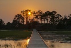 The sun sets over the salt marsh off Hunting Island, South Carolina.