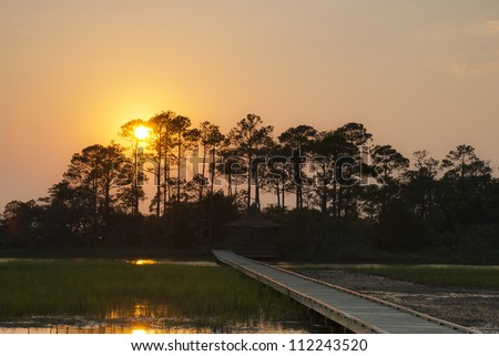 The sun sets over the salt marsh off Hunting Island, South Carolina.