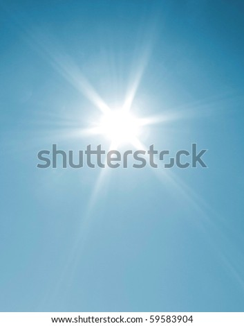 The sun shining on a cloudless day