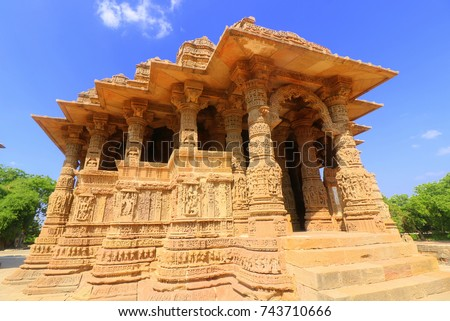 The Sun Temple is a Hindu temple dedicated to the solar deity Surya located at Modhera village of  Gujarat, India. It is situated on the bank of the river Pushpavati. It was built in 1026-27 AD.