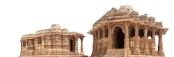 The Sun Temple isolated on white background. It is a Hindu temple dedicated to the solar deity Surya located at Modhera village (India)