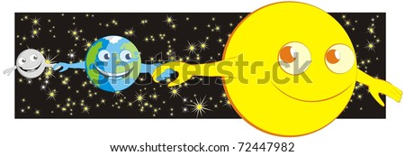 The sun, the earth and the moon holding each other by the hand, enjoying the ride through the solar system - color raster cartoon illustration