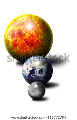 """The Sun The Earth The Moon """"Elements of this image furnished by NASA"""" - stock photo"""