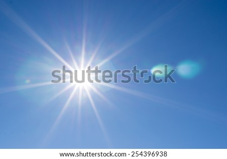 the sun with rays