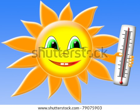 the sun with thermometer on the background of blue sky