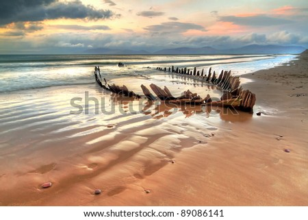 The Sunbeam ship wreck on the Rossbeigh beach, Ireland