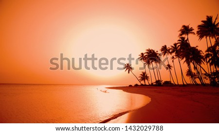The sundown in beautiful tropical palm trees island beach. Yellow sun reflected in the waves sea on the sand. Amazing palm trees adorn background. Nature sundown in the sky on paradise island beach #1432029788