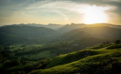 The Sune Setting over Langdale, Langdale Pikes, Lake District