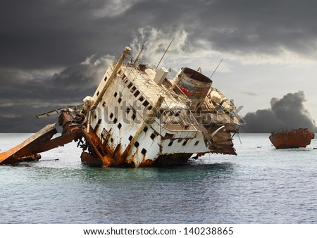 The sunken shipwreck on the reef, Egypt, Red Sea. #140238865