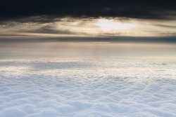 The sunlight above  the clouds,the sea of clouds