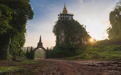 The sunrise of Khao Na Nai Luang temple at Surat Thani Province, Southern of Thailand