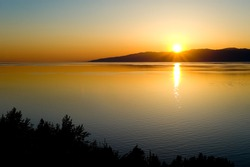 the sunset at Lake Baikal in summer