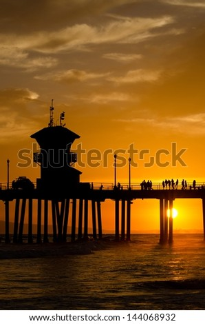 The sunset at the pier in Huntington Beach,CA on a June evening.