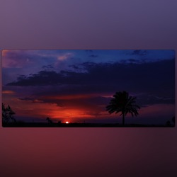 The sunset,from the finest and the most beautiful landscape, which don't touch the humanhand.