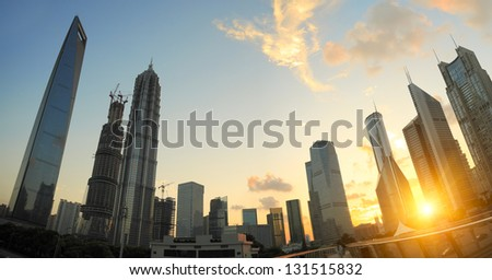 The sunset on the modern building background in shanghai china