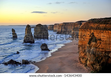The sunset over the Twelve Apostles, Victoria,Australia