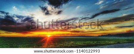 the sunset panorama  #1140122993