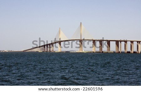 The Sunshine Skyway Bridge over Tampa Bay Florida - stock photo