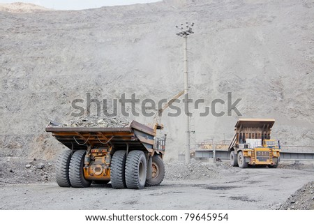 The supersize cars in open pit mine