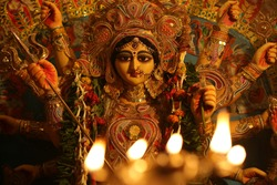The Supreme shakti, Maa Durga is worshiped with diya lamp in utmost devotion in Hindu religion