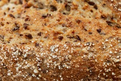 The surface of freshly baked grain bread. Close-up. Background. Space for text. Healthy eating.