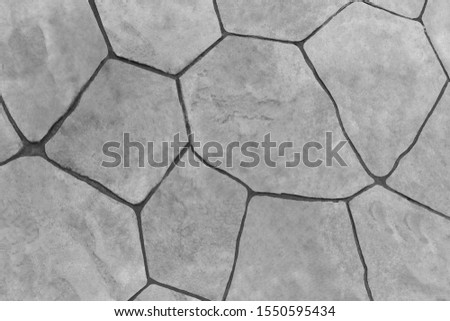 The surface of the area is covered with ceramic plates. Black and white color style.