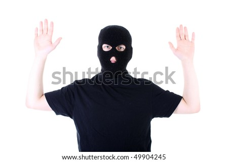 The surrendered criminal in a black mask