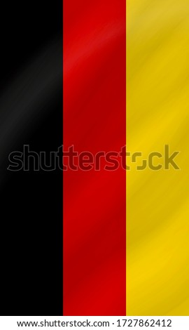 The suspended vertically national flag pattern of Germany, waving hanging German flag icon texture wallpaper background Foto d'archivio ©