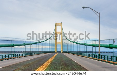 The suspension bridge over The Straits of Mackinac joins Michigan's Upper and Lower Peninsulas.