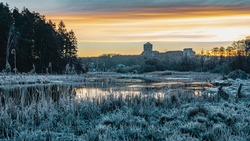 The Swedish fortress of Bohus during sunrise on a frosty winter morning. This 700 years old stronghold has suffered through 14 sieges during its 500 years of active use.
