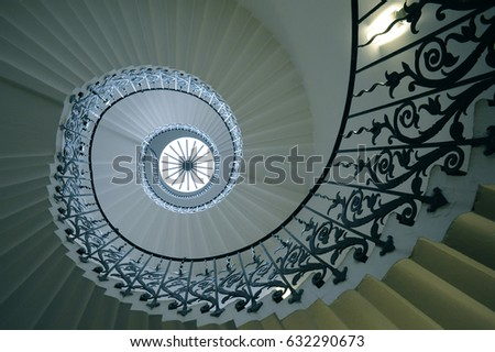 The sweeping Tulip Stairs are one of the original features of the Queen's House in Greenwich. Built in the 17th century they were the first geometric self-supporting spiral staircase in Britain.