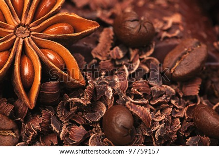 The sweet chocolate, black coffee and anise #97759157