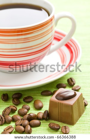 the sweet chocolate praline and coffee cup