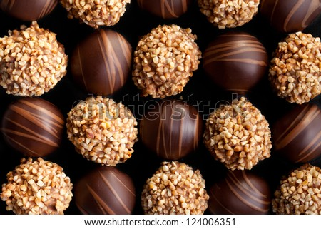 the sweet chocolate pralines background