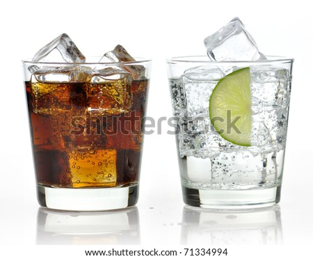 The sweet cooled drinks with ice - stock photo