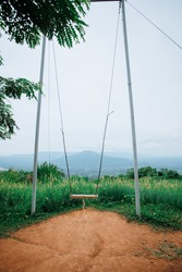 The swing on the mountain is the tourist district of Loei province.