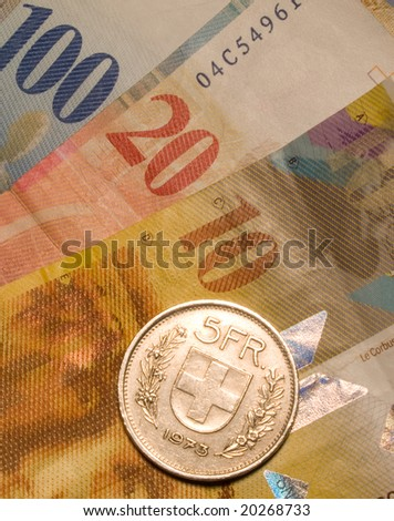 The swiss currency closeup background