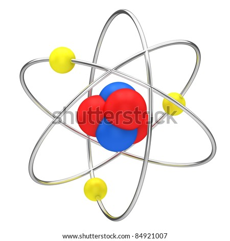 The symbol of nuclear technology isolated on a white background.
