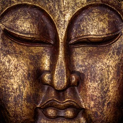 The symbol of the richness, of the founder of Buddhism, Buddha portrait golden painted wood carved statue sculpture close up