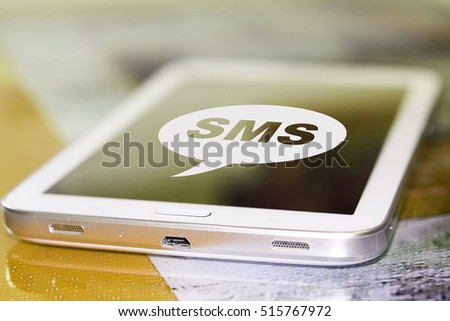 The symbol sms on the screen cell phone . #515767972