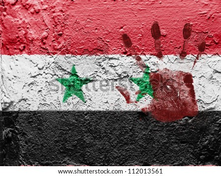 The Syria flag painted on grunge wall with bloody palmprint over it