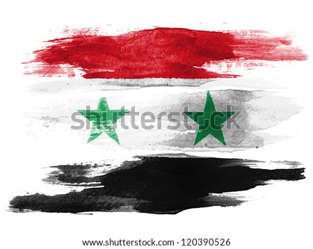 The Syria flag painted on white paper with watercolor