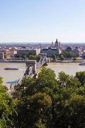 The Szechenyi Chain Bridge, River Danube and church St. Stephen's Basilica in Budapest, Hungary. Panoramic view from the famous Fisherman's Bastion on the Pest side. Hungarian landmarks