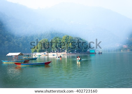The Taal Barahi Temple is in the middle of the phewa lake in Pokhara,Nepal #402723160