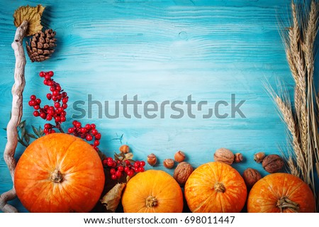 The table, decorated with vegetables and fruits. Harvest Festival,Happy Thanksgiving. #698011447