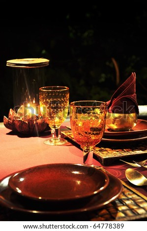 the table set for special dining in a restaurant