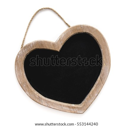 The tablet of wood for writing with chalk, in the shape of a heart on a white background