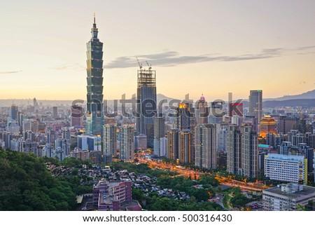 The Taipei city at sunset  #500316430